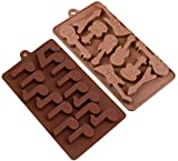 2 Pcs Silicone Chocolate Guitar and Music Note Shaped Baking Mold Set 3D Chocolate Mould DIY Baking Molds Used