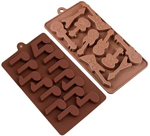 2 Stück Silikon-Backformen für Schokolade, Gitarre und Musiknoten, 3D-Schokoladenform, DIY-Backformen für Süßigkeiten, Gelee, Eiswürfel und Mini-Seifen-Kuchendekoration