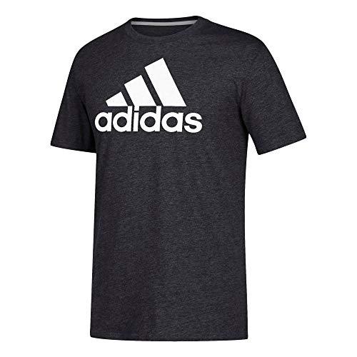 adidas Go-to-Performance Camiseta de manga corta para hombre - 26546, playera de manga corta Go-To-Performance, XXL, Gris oscuro jaspeado/ Blanco