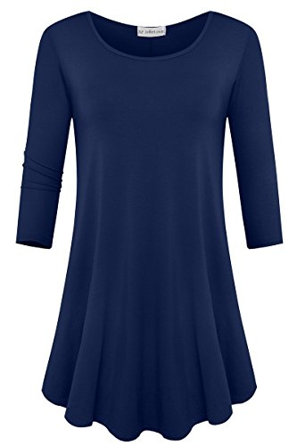 JollieLovin Womens 3/4 Sleeve Loose Fit Swing Tunic Tops Basic T Shirt Navy Blue...