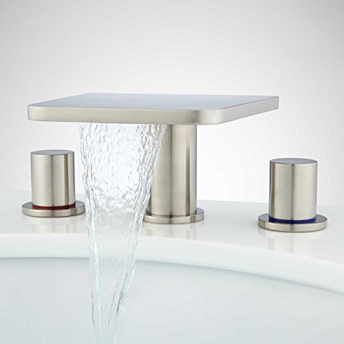 Signature Hardware 930802 Knox Widespread Waterfall Bathroom Faucet with Pop-Up Drain Assembly