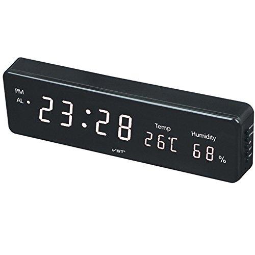 JINSE horloge, elektronische LED digitale wandklok met vochtigheid temperatuur display Moderne Home Decoratie Large wit