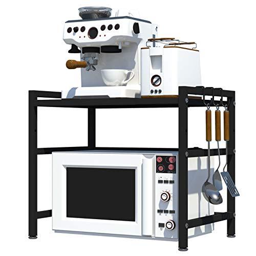 Mikrowelle Regal für Küche,Multifunktionaler Mikrowellenhalter,2 Ebenen Mikrowellenständer Küchenablage Mikrowelle Halter mit 3 hängenden Haken, Kohlenstoffstahl