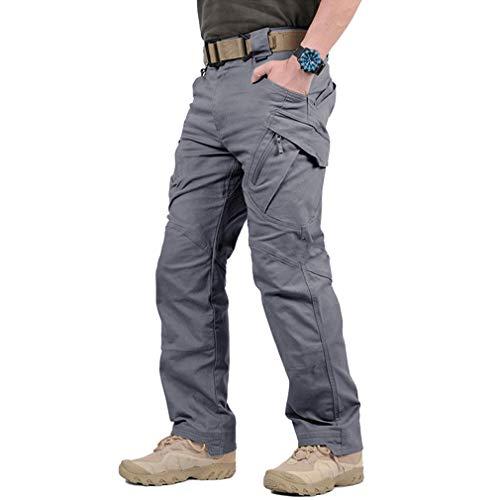 Tactical Waterproof Pants Men Outdoor, Hiking Pants Cargo Work Pants (Grey, M)
