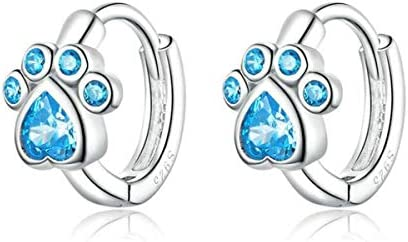 Animal Dog Paw Earring Love CZ Earring Stud Hypoallergenic Earring for Women Sterling Silver product image