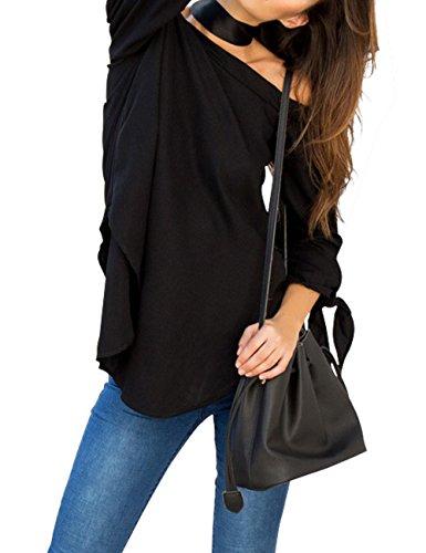Just Quella Women's Off Shoulder Loose Shirt Blouse 8422 (Medium, Black)