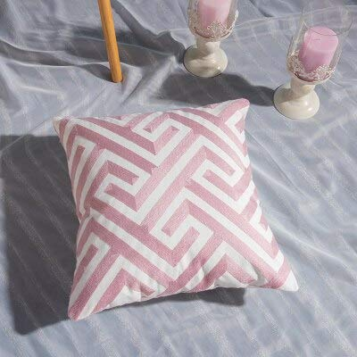 N / A Home Decor Emboridered Kissenbezug Pink Geometric Canvas Kissenbezug Cotton Suqare Stickerei Kissenbezug 45x45cm 45CM