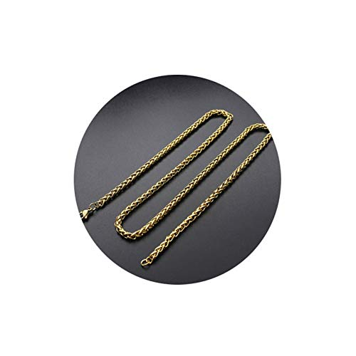 Bishilin Edelstahl Halskette Herren ohne Anhänger Weizenkette 6 MM Gold Kette Partnerketten für Männer 45 cm