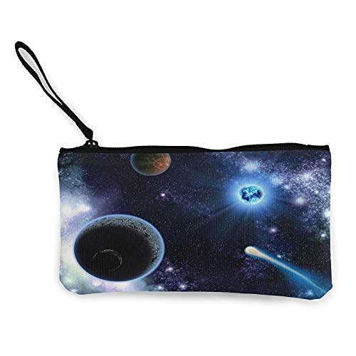 Universe Spae Planets - Monedero de lona para cambiar, bolsa de moda linda cartera pequeña con cremallera para ir de compras y actividades al aire libre