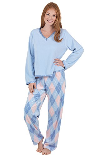 PajamaGram Fleece Pajamas Women Soft - Winter Pajamas for Women, Blue, L, 12-14