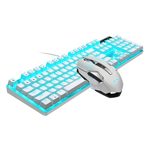 Mechanical Gaming Keyboard and Mouse Combo Blue Switch 104 Keys White Backlit Keyboards, MageGee...