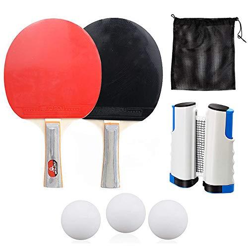 KKTICK - Set di ping-pong portatile di alta qualità, con 1 rete da ping pong retrattile per qualsiasi tavolo, 2 ping-pong, 3 palline da ping pong e 1 borsa per riporre