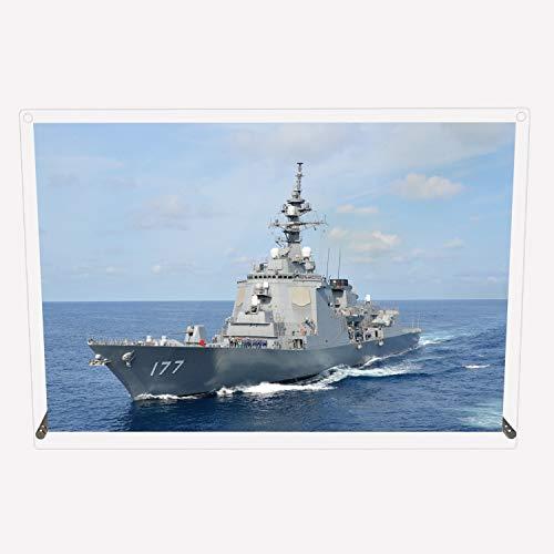 CuVery アクリル プレート 写真 海上自衛隊 護衛艦 DDG-177 あたご デザイン スタンド 壁掛け 両用 約A3サイズ