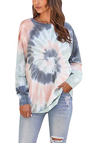 SMENG womens sky block long sleeve crewneck tie dye fall sweatshirt striped printed soft pullover tops Green M