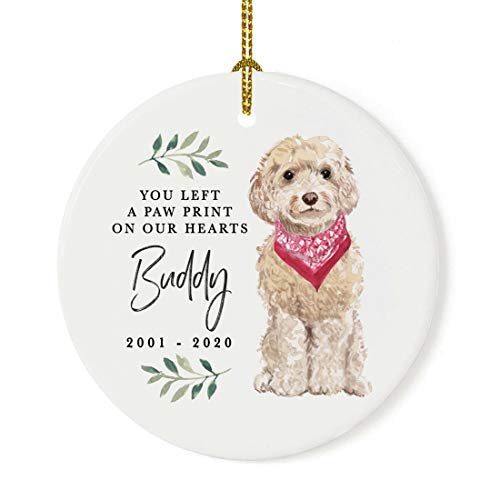 Andaz Press Personalized Round Porcelain Ceramic Christmas Dog Memorial Ornament, You Left A Paw Print On Our Hearts, Champagne Cockapoo, Custom Name and Year, Pet Memorial Christmas Ideas, 1-Pack