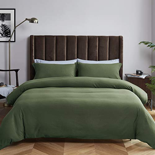 Bedsure Duvet Cover Set with Zipper Closure, Washed Microfiber - Ultra Soft King Size (104x90 inches) - 3 Pieces (1 Duvet Cover + 2 Pillow Shams), Olive Green