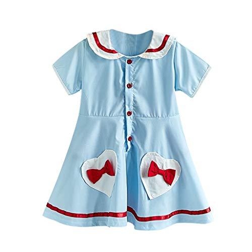 wuayi Mädchen Kleider, Baby Mädchen Kurzarm Herz Seemann Kragen Bogen Prinzessin Kleider Kleid Kleidung Outfits 1-6 Jahre