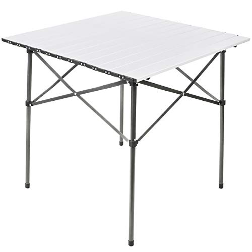 PORTAL Lightweight Aluminum Folding Square Table Roll Up Top 4 People Compact Table with Carry Bag For Camping Picnic Backyards BBQ White