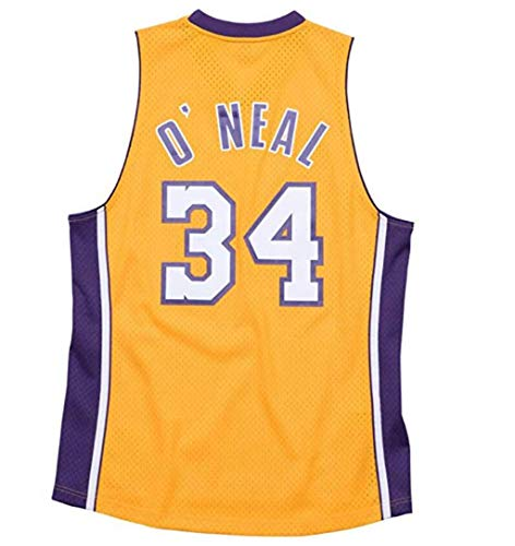 FMSports Herren Retro Basketball Trikots - NBA Lakers # 34 O'neill Klassiker Besticktes Mesh Center Atmungsaktives Shirt,XL(180CM/85~95KG)