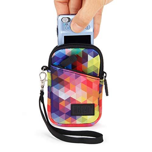 Tasche für Kompaktkameras von USA Gear: Schutzhülle für kompakte Digitalkameras aus Neopren, Kratz- & Wetterfest, extra Zubehörfach, Geometrisch, ideal für Canon IXUS 185 & weitere Kameras