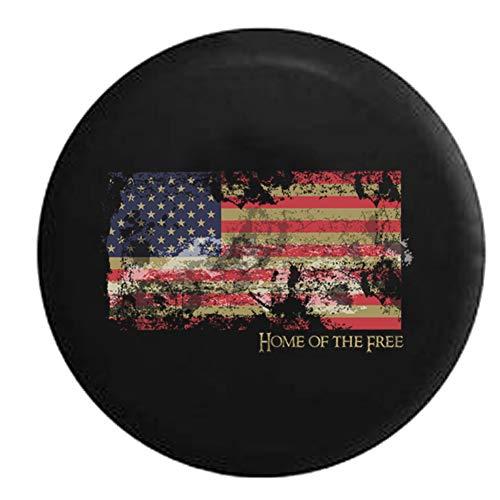 Cubiertas De Neumáticos para Rueda De Repuesto Bandera Americana Envejecida Vintage - Hogar De Los Libres - Orgullo Patriótico A Prueba De Polvo, Impermeable