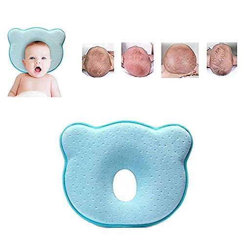 ANSGEC Almohada Bebe Recién Nacida Bebé Almohada Anti-Plano Cabeza de Memoria Espuma Cojin Bebe con Diseño Ergonómico(Azul)