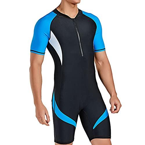 SUNYUN Shorty Wetsuit para Hombres, Neopreno de 2,5 mm Cremallera Frontal de Una Pieza Traje de Baño Fino para Snorkel, Buceo y Otras Actividades Acuáticas (M)