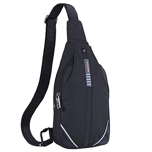 WATERFLY Small Crossbody Sling Backpack Anti Theft Backpack for Traveling Chest Bags for Men&Women Multipurpose Casual Daypack Hiking Shoulder Bag (Black)