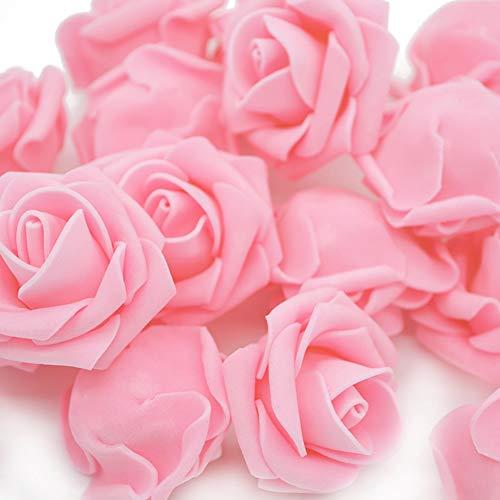 Warmiehomy Schaumrosen Schaumköpfe Foamrosen Künstliche Blume Brautstrauß 50 Stück DIY Foam Rosen Ideal für Hochzeit, Partys, Zuhause, Garten, Büro Dekoration(Rosa)