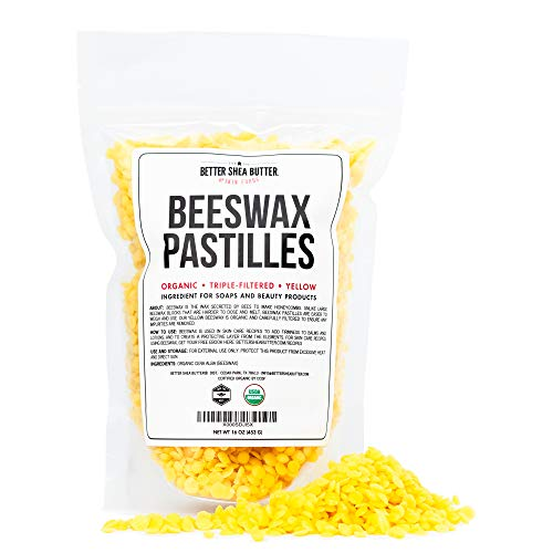 Organic Beeswax Pastilles  Yellow Filtered Pellets Easy to Measure  Use to Make Candles Lotions Salves Balms and other Recipes  16 oz by Better Shea Butter