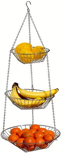 DecoBros Hanging Fruit Basket 3-Tier, Chrome