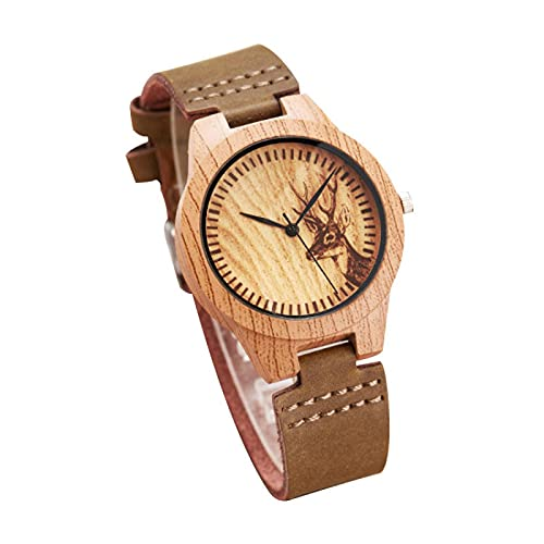 Wooden Watches Leather Wristwatch Wood Watch Present for Women Khaki
