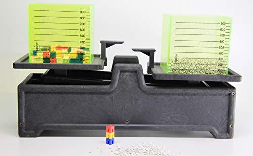 WISSNER 070120.000 aktiv Lernen-Tafelwaage mit 2 Literboxen und Gewichtswürfel-RE-Wood, Mehrfarbig