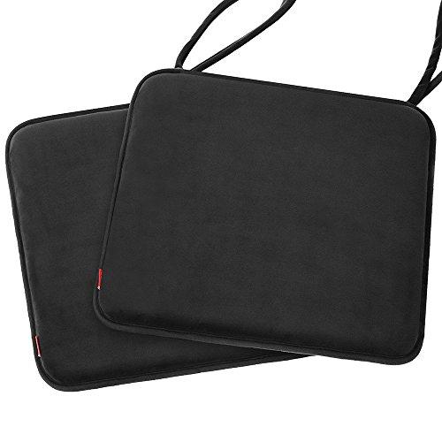 baibu 2PCS Memory Foam Seat Cushion Non-Slip Dinging Chair Pad with Ties -16' x 16' -2PCS Black
