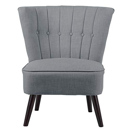 INMOZATA Grey Armchair Linen Fabric High Accent Chair Stunning Occasional Bedroom Chair Hold 150kg for Bedroom Dining Living Chairs (Grey)