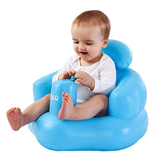 Warme Baby Aufblasbarer Hocker Infant Badesessel Sitz, Haushalt Mehrzweck-Kinder Badhocker Duschstuhl Trainingssitz Air Sofa Tragbares Baby Spielsofa Couch für Kleinkinder Kinder Mädchen Jungen (Blau)