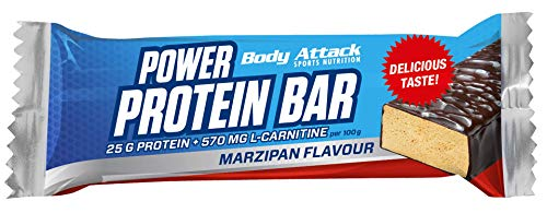 Body Attack Power Protein Bar, Eiweißriegel mit L-Carnitin & Vitaminen, 24x 35g (Marzipan)