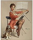 Gil Elvgren Pinup Girl Doggone Good Puppy Love 1959 p7066 A2 Canvas - Art Pai...