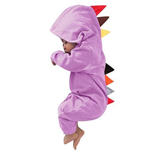 MRULIC MRULIC Neugeborenes Baby Jumpsuit Outfit Dinosaurier Reißverschluss mit Kapuze Spielanzug Overall Outfit Kleidung Niedlicher Babyschlafsack Onesies Herbst und Wintermodelle(Violett,65-70CM)