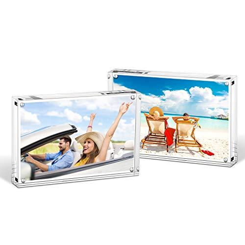 House Daya crylbilderrahmen 10×15 cm 2pcs freistehend doppelseitig 22 mm dick klar Premium magnetisches Fotorahmen-Display