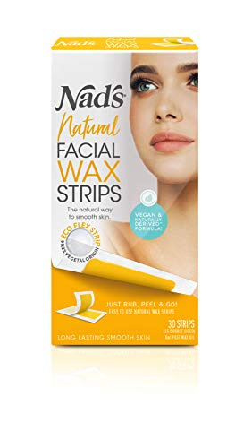 Nad's Facial Wax Strips - Natural All Skin Types - Waxing Kit With 30 Face Wax Strips & Post Wax Oil, 1 Count