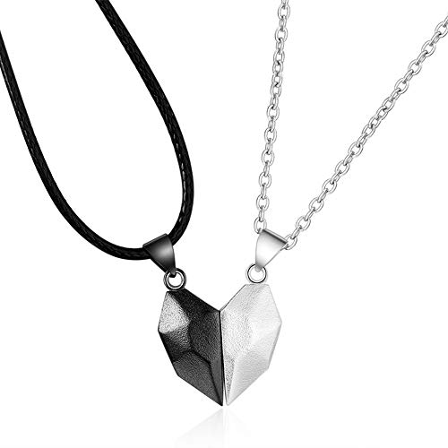 2Pcs Two Souls One Heart Necklace Couple Neck Chain Lightweight Simple Pendant Gift Magnetic Heart Necklace for Couples (Black + White)
