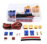 Readytosky XT60/XT90/EC3/EC5/T-Plug Male & Female Connector Adapters Kit+14AWG Silicone Wire and Shrink Tubing for RC ESC Motor Lipo Battery(70PCS)