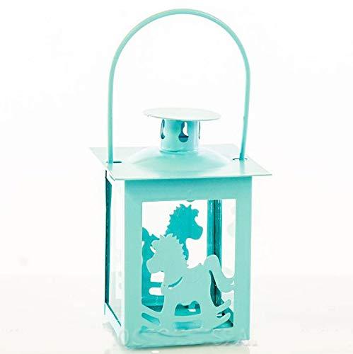 Ingrosso e Risparmio Lanterna in Metallo Azzurro con rappresentazione Cavalluccio a Dondolo bomboniere Nascita Battesimo Compleanno Bambino (con Confezione Tiffany)