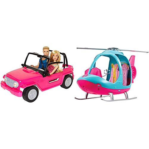 Barbie CJD12 Beach Cruiser with Barbie and Ken Dolls & FWY29 Helicopter, Pink and Blue, with Spinning Rotor, Multicolored
