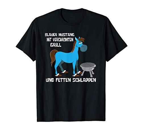 Blauer Mustang Mit Verchromtem Grill Und Fetten Schlappen T-Shirt