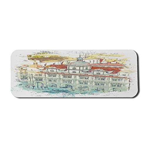 Ambesonne Watercolor Mouse Pad for Computers, Sketchy Old European Structure in Prague Czech Republic, Rectangle Non-Slip Rubber Gaming Mousepad Large, 31' x 12', Multicolor