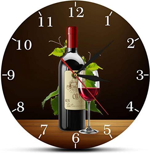 Reloj De Pared Reloj De Pared Decoración Vino Tinto Bodega Signo De Borrachera Cocina Moderna Reloj De Pared Botellas Y Copas De Vino Con Uvas Inicio Bar Taberna Reloj De Pared Adecuado Para Cafetería
