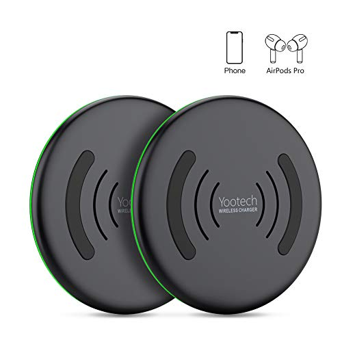 YOOTECH Wireless Charger, 2-Pack Qi 10W Max. Fast Induktion Ladestation für iPhone 11/11 Pro/11 Pro Max/XS MAX/XR/XS/X/8/8 Plus, Samsung Galaxy S20/Note 10/Note 9/S10/S9/Note 9/S8/S7 usw., AirPod