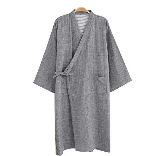 HQ-PJS Albornoces Desgaste Kimono japonés Pijama de baño de Las Mujeres Dormir Diario New Hombres Lavados de Color-Cotton Spinning Servicio de algodón (Color : Gray, Size : L)